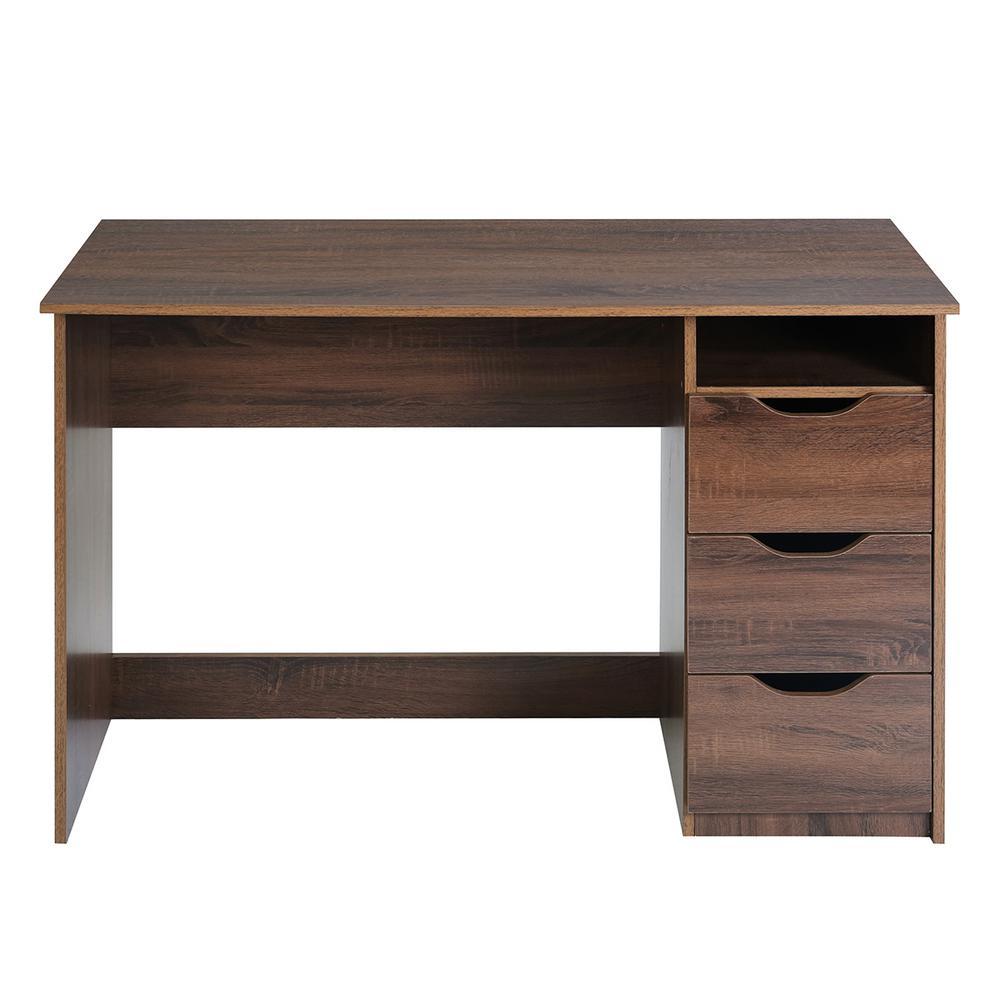 Walnut Desk MDF Wood Sturdy Textured 3-drawers Extra Storage Top Shelf