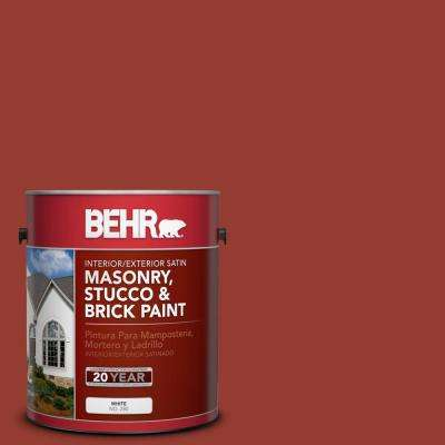 1 gal. #PPU2-17 Morocco Red Satin Interior/Exterior Masonry, Stucco and Brick Paint