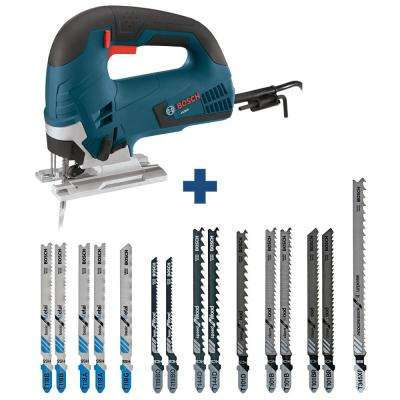 6.5 Amp Corded Variable Speed Top-Handle Jig Saw Kit with Case and Bonus T-Shank Jig Saw Blade Set (15-Pack)