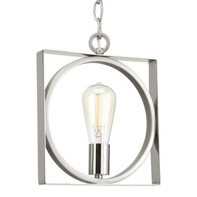 Progress Lighting Inman Collection 1-Light Polished Nickel Mini-Pendant with Satin Nickel Accents