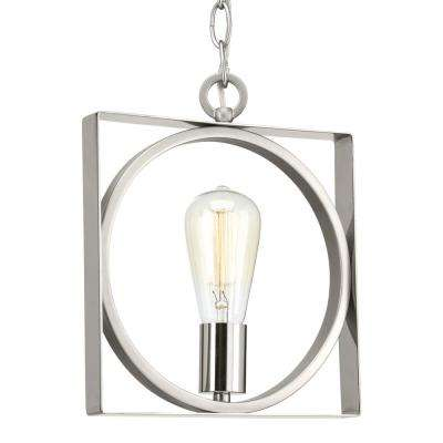 Inman Collection 1-Light Polished Nickel Mini-Pendant with Satin Nickel Accents