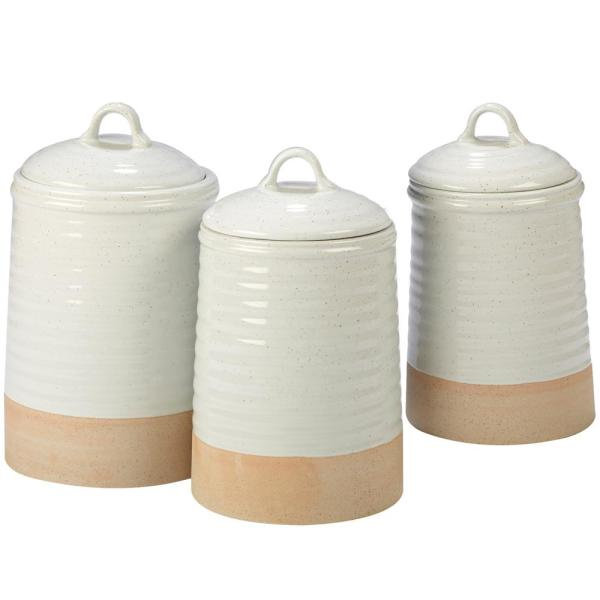 Artisan 3-Piece Traditional Cream Ceramic 56, 76, and 96 oz. Canister Set (Service for 3)