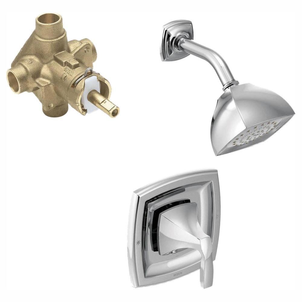 MOEN Voss Single-Handle 1-Spray PosiTemp Shower Faucet Trim Kit with Valve in Chrome (Valve Included)