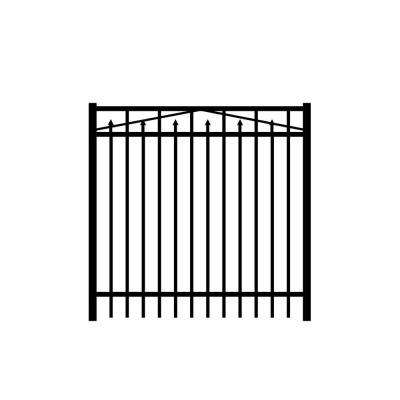 Adams 5 ft. W x 5 ft. H Black Aluminum 3-Rail Fence Gate