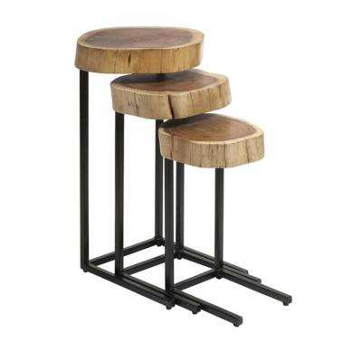 Nadera Brown Wood and Iron Nesting Tables (Set of 3)