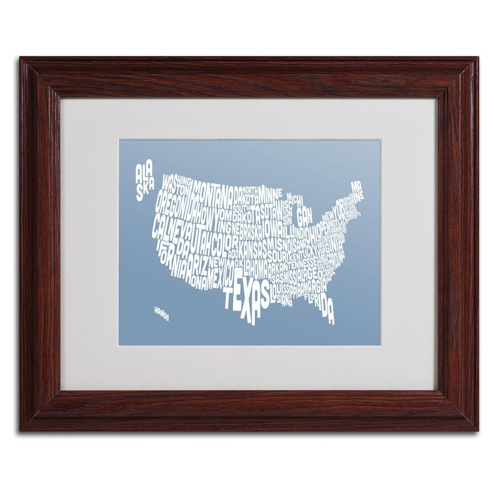 11 in. x 14 in. USA States Text Map - Steel