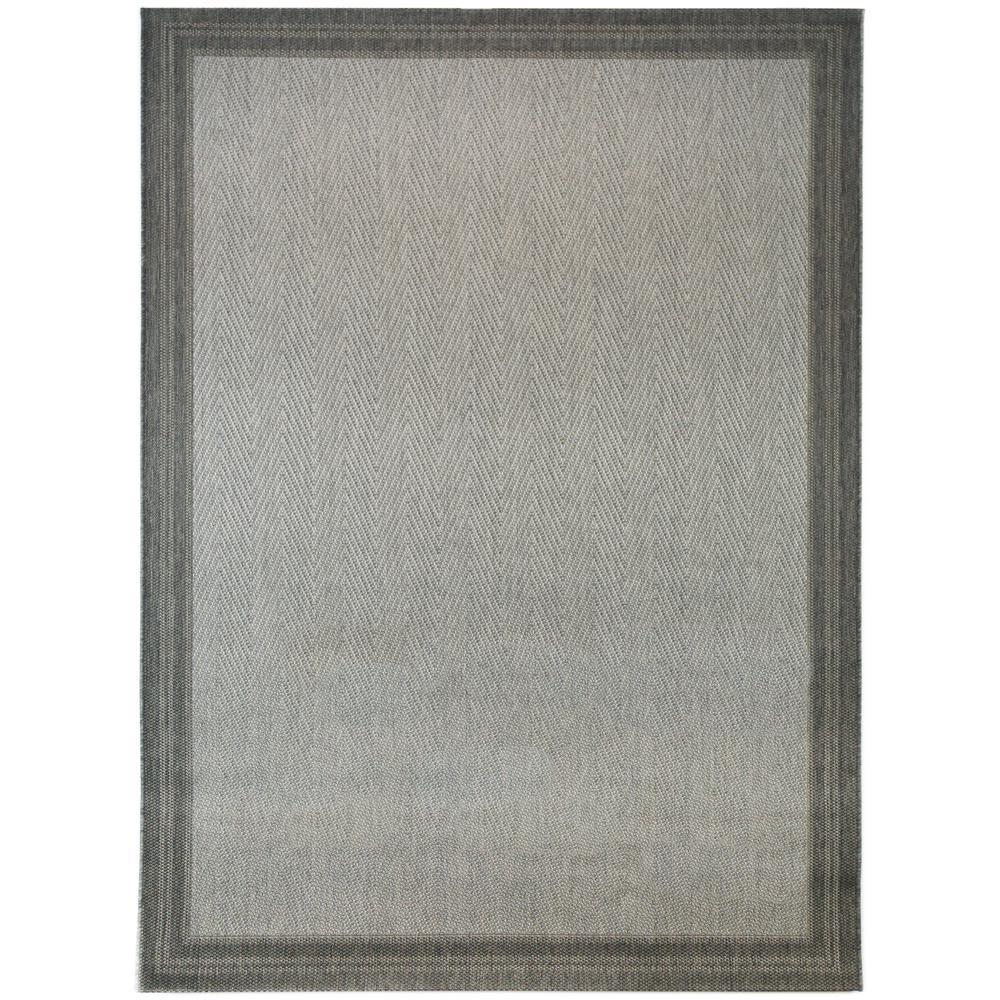 Border Grey 7 ft. 10 in x 9 ft. 10 in. Indoor/Outdoor Area Rug