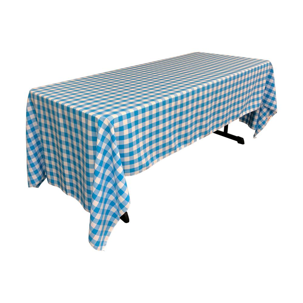 LA Linen 60 In. X 120 In. White And Turquoise Polyester Gingham Checkered  Rectangular