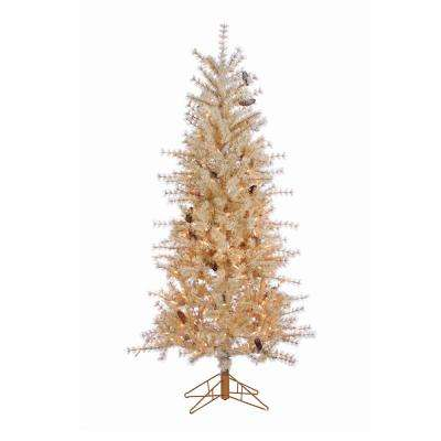6 ft. Indoor Pre-Lit Frosted Buttercream Hard Needle Slim Artificial Christmas Tree with 300 Clear Lights and Pinecones