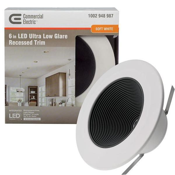 Ultra Low Glare 6 in. 3000K Soft White Integrated LED Recessed Trim Downlight Deep Black Baffle Insert 670 Lumens