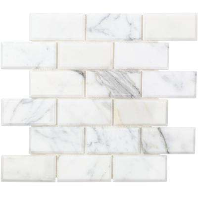 Beveled Calacatta Marble Mosaic - 3 in. x 6 in. x 10.5 mm Tile Sample
