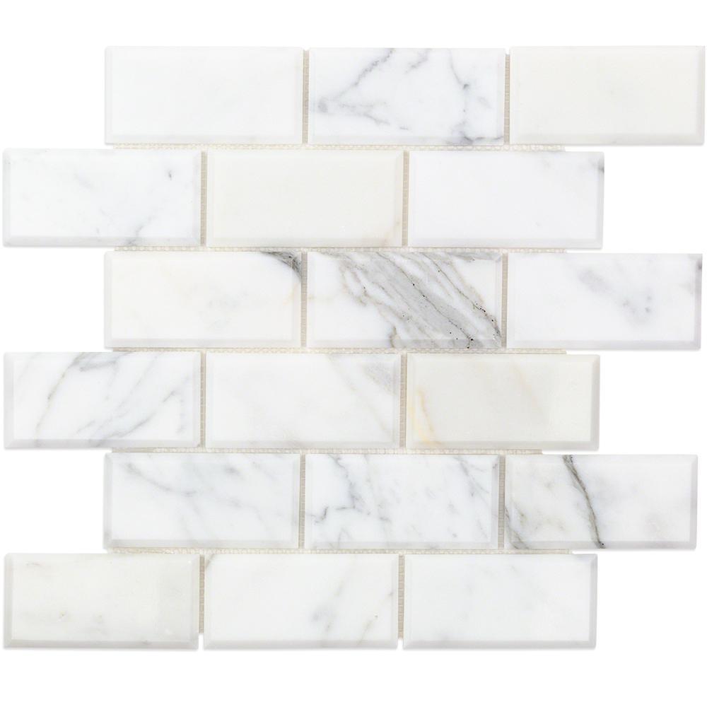 Splashback Tile Beveled Calacatta Marble Mosaic 3 In X 6 In X