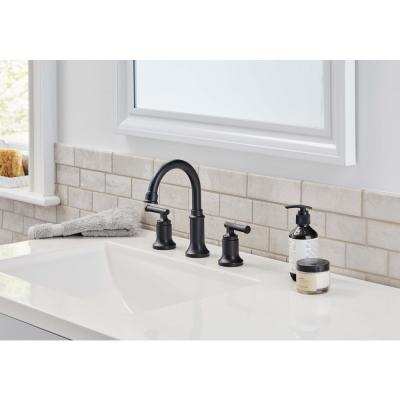 Oswell 8 in. Widespread 2-Handle High-Arc Bathroom Faucet in Matte Black