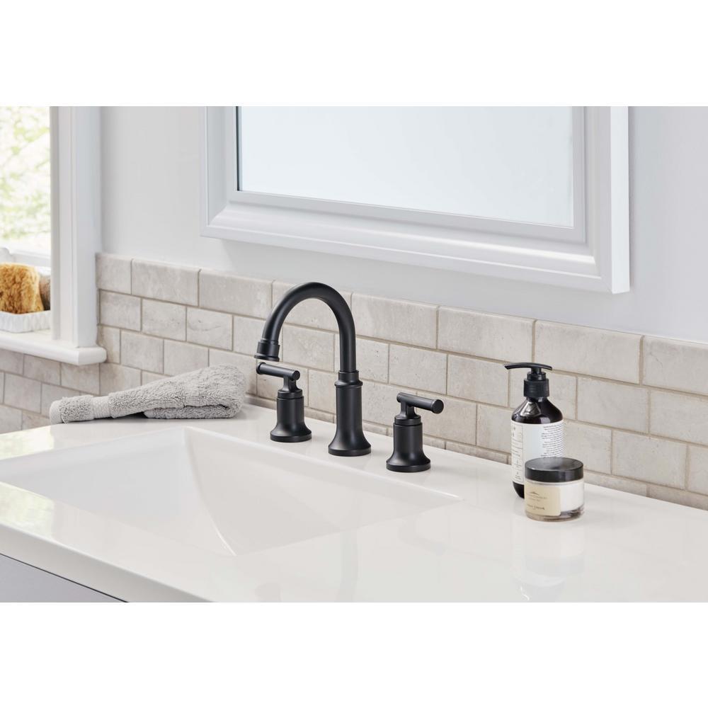 """Glacier Bay Oswell 8"""" Widespread Bath Faucet In Matte Black P 1005-129-779"""