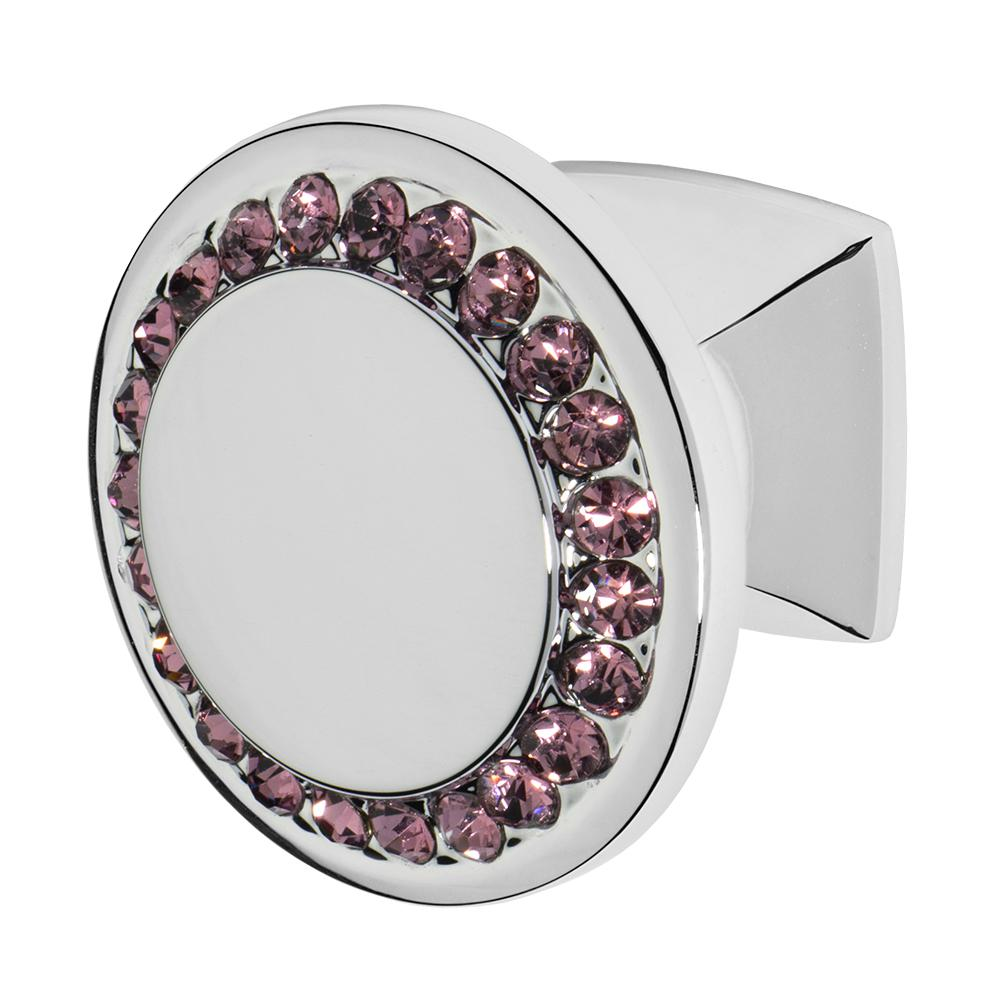 Isabel 1-1/4 in. Chrome with Purple Crystal Cabinet Knob