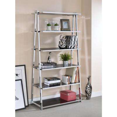 Coleen Black High Gloss and Chrome Leaning Bookcase