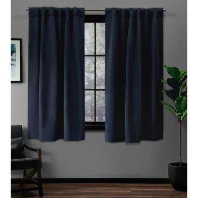 Sateen 52 in. W x 63 in. L Woven Blackout Hidden Tab Top Curtain Panel in Peacoat Blue (2 Panels)