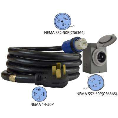 15 ft. 6/3+8/1 50 Amp DUO-RainSeal Kit NEMA 14-50P 4-Prong Temporary Power Cord with Power Inlet Box
