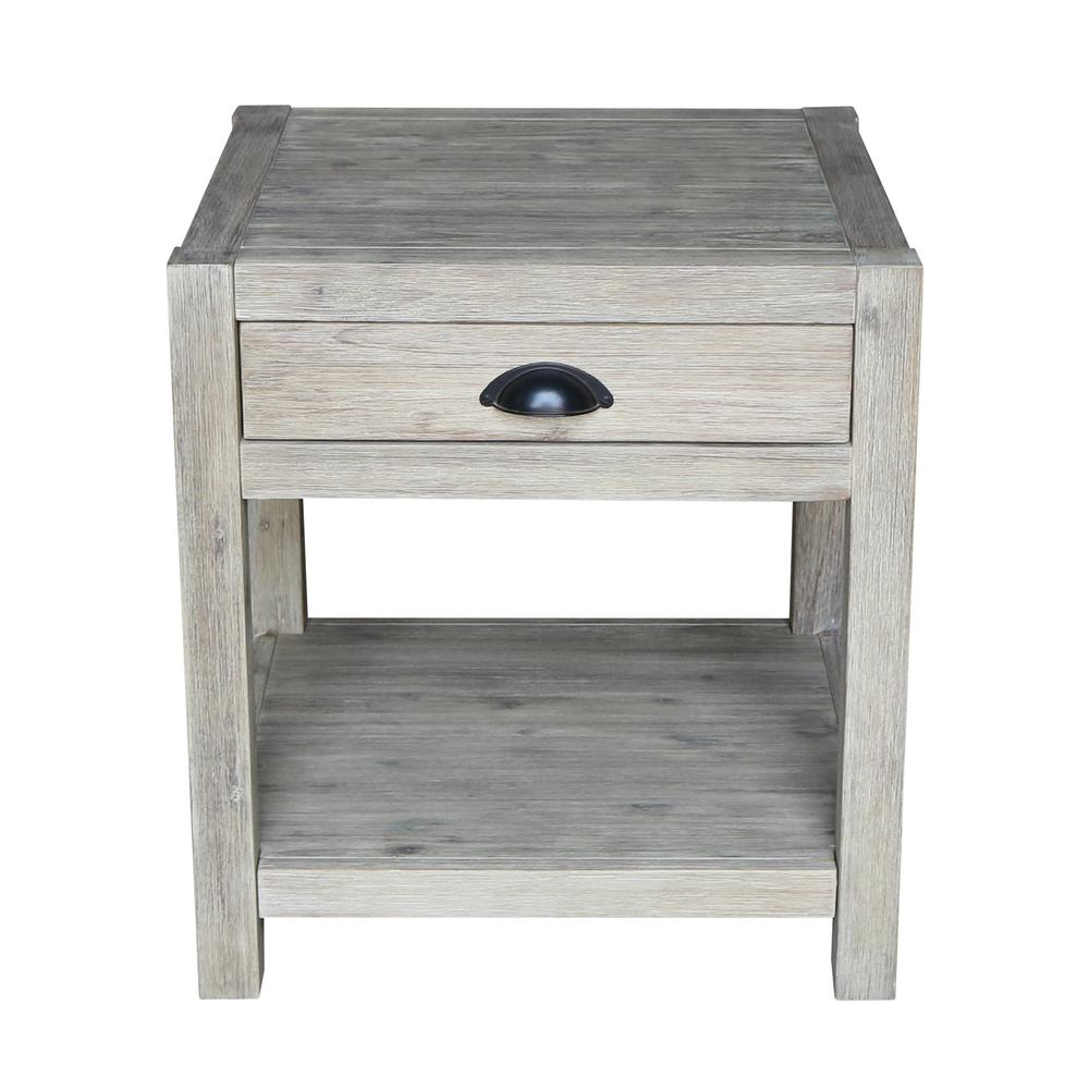 Wirebrushed sandy gray acacia wood end table