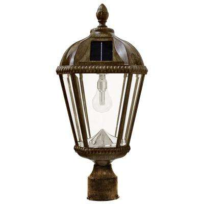 Royal Bulb Series Single Weathered Bronze Integrated Led Solar Post Light with 3 in. Fitter and GS Solar LED Light Bulb