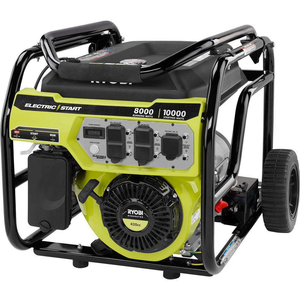 RYOBI 8,000-Watt Gasoline Powered Electric Start Portable Generator