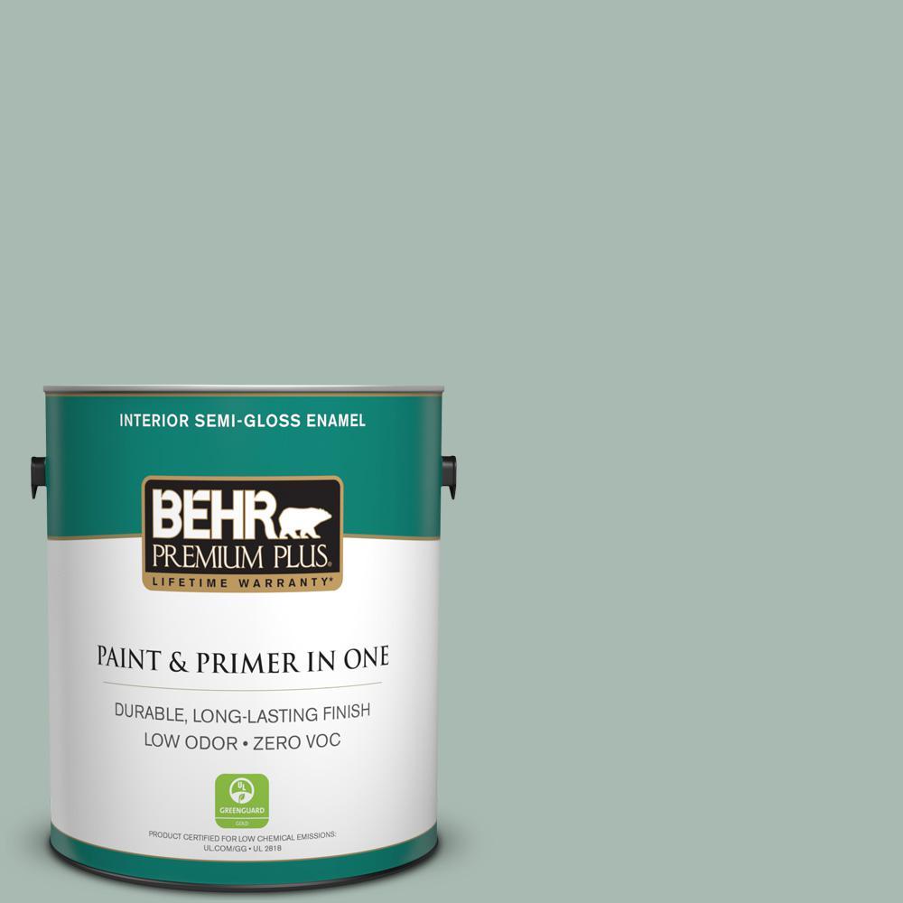 1-gal. #BXC-85 Quiet Teal Semi-Gloss Enamel Interior Paint