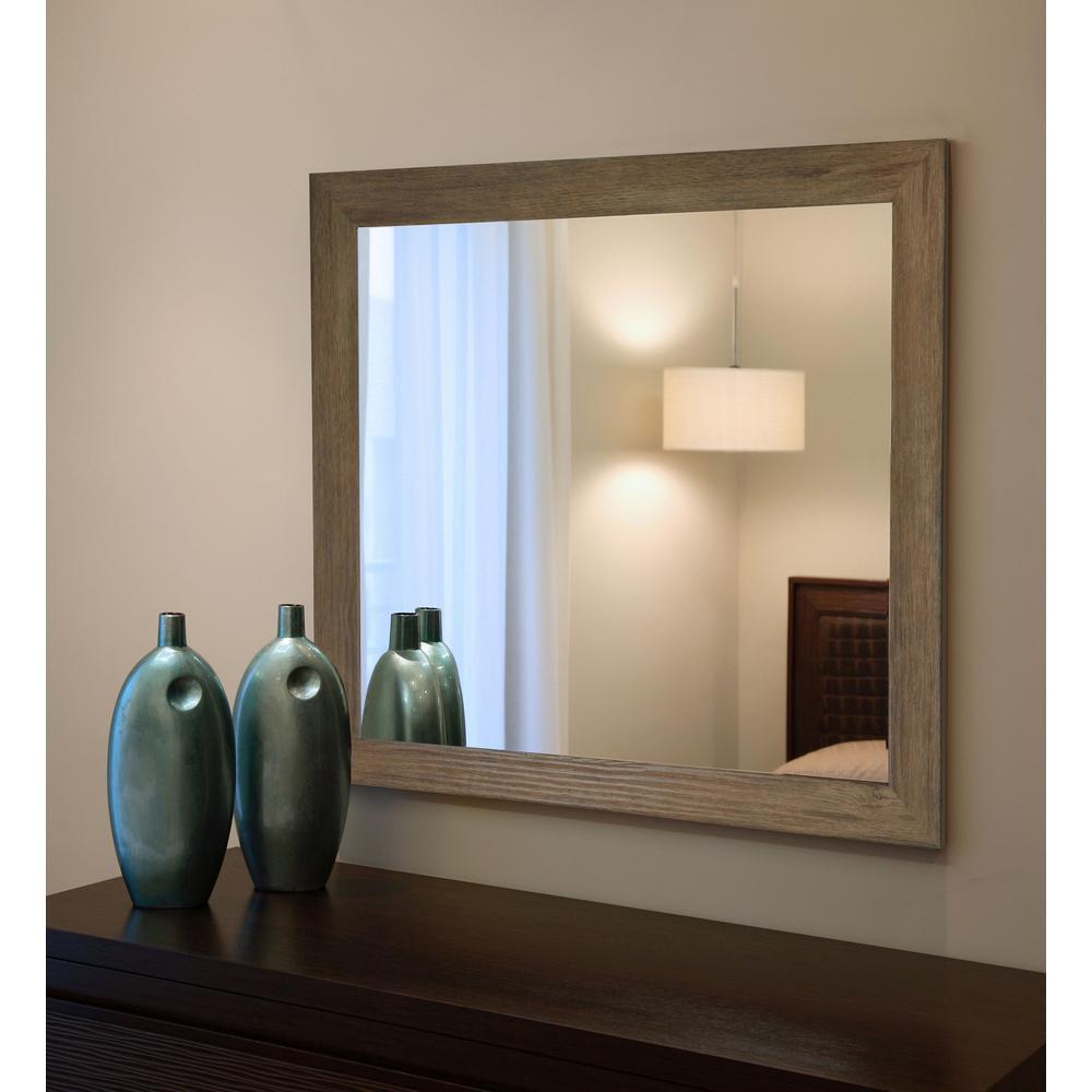 45.5 in. x 39.5 in. Brown Barnwood Non-Beveled Vanity Wall Mirror