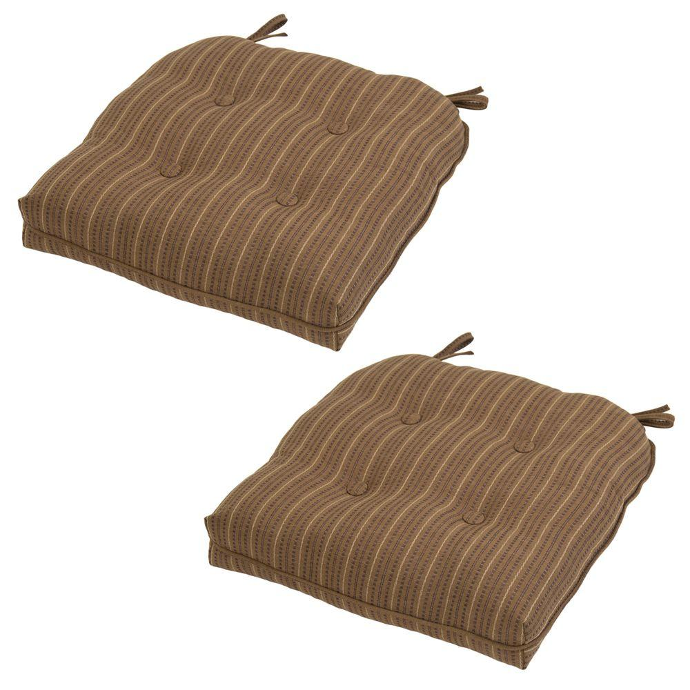 Hampton Bay Bark Stripe Rapid-Dry Deluxe Tufted Outdoor Seat Cushion (2-Pack)