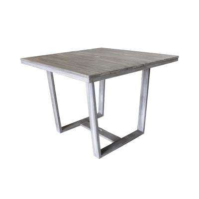 Bay Side Collection Teak Outdoor Square Dining Table with Umbrella Hole