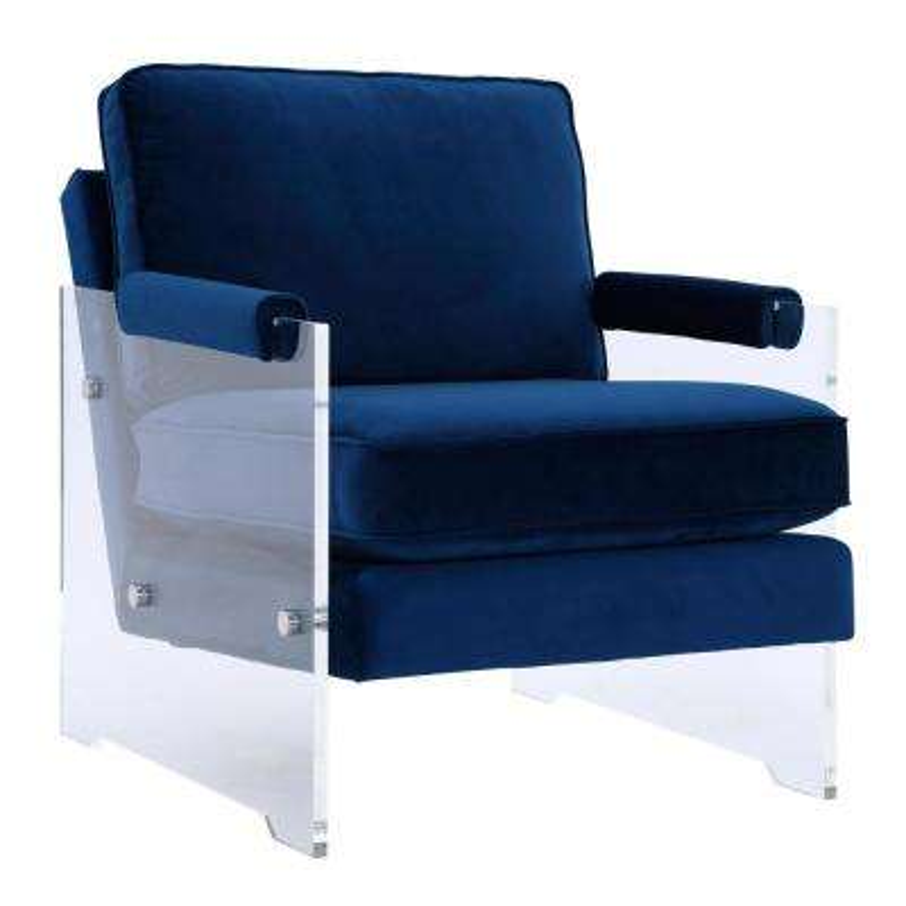 Serena Navy and Velvet Lucite Chair