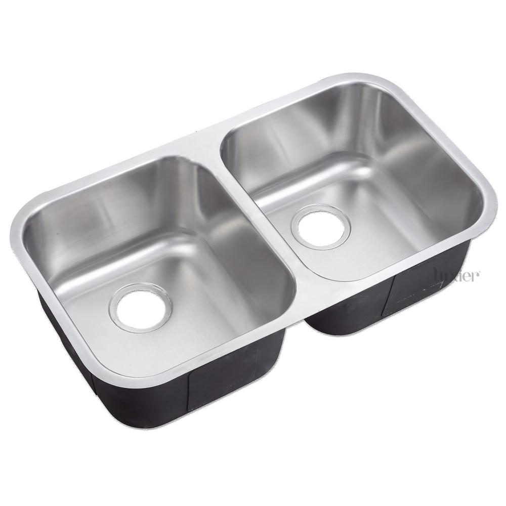 Undermount 18-Gauge Stainless Steel 31-1/4 in. 50/50 Double Bowl Kitchen Sink cUPC
