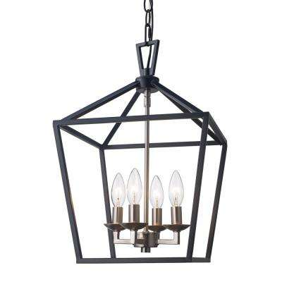 Lacey 4-Light Black and Brushed Nickel Pendant