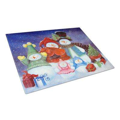 Merry Christmas From Us All Snowman Tempered Glass Large Cutting Board