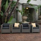 Puerta Mix Black Stationary Wicker Outdoor Lounge Chair with Dark Gray Cushion (4-Pack))
