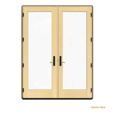 72 in. x 96 in. W-4500 Brown Clad Wood Left-Hand Full Lite French Patio Door w/Lacquered Interior