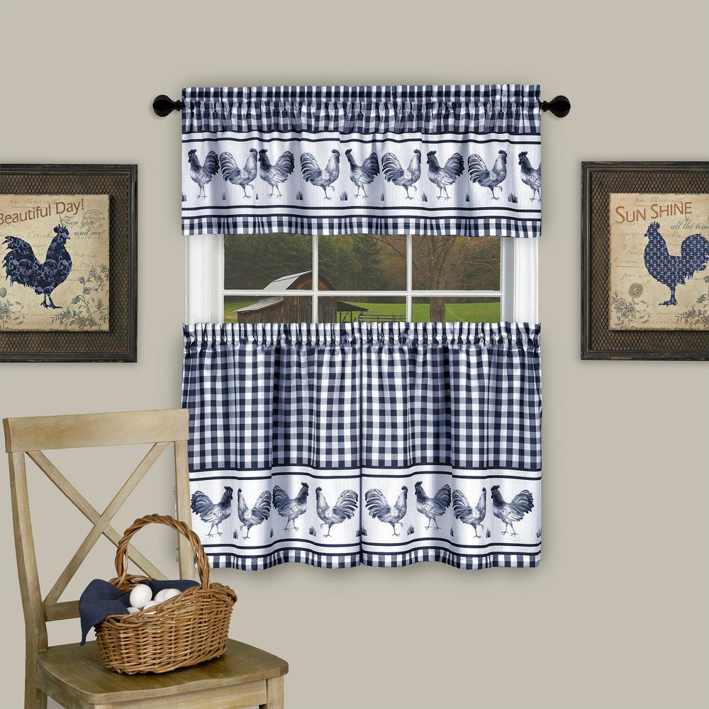 Achim Barnyard Navy Polyester Tier and Valance Curtain Set - 58 in. W x 36 in. L