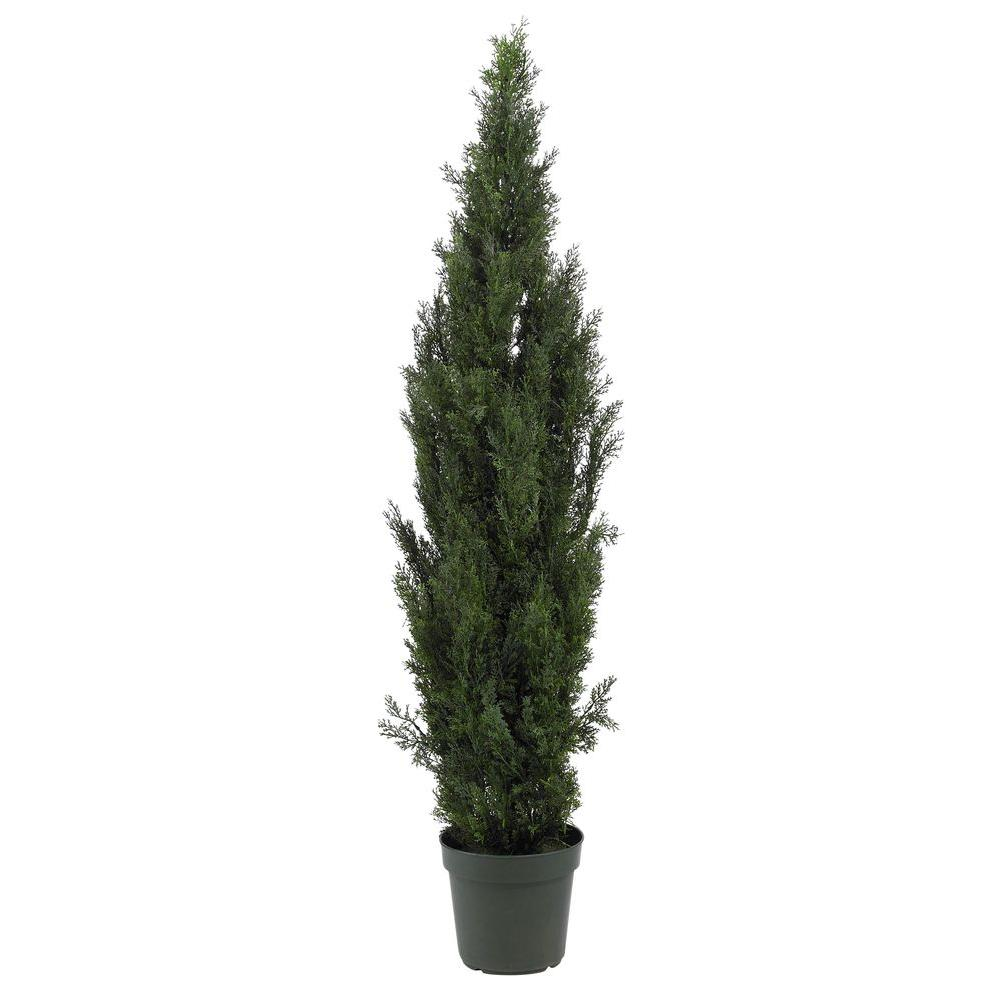 Nearly Natural 6 ft. Mini Cedar Pine Silk Tree The Nearly Natural 6 ft. Mini Cedar Pine Silk Tree is designed to bring a touch of nature to home and office interiors. The tree stands 6 ft. tall and features almost 2,500 leaves that are crafted with the finest materials to help ensure an authentic appearance. It comes with a green plastic container and can be used indoors and outdoors.
