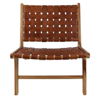 Roy Antique Brown Leather Strap Chair