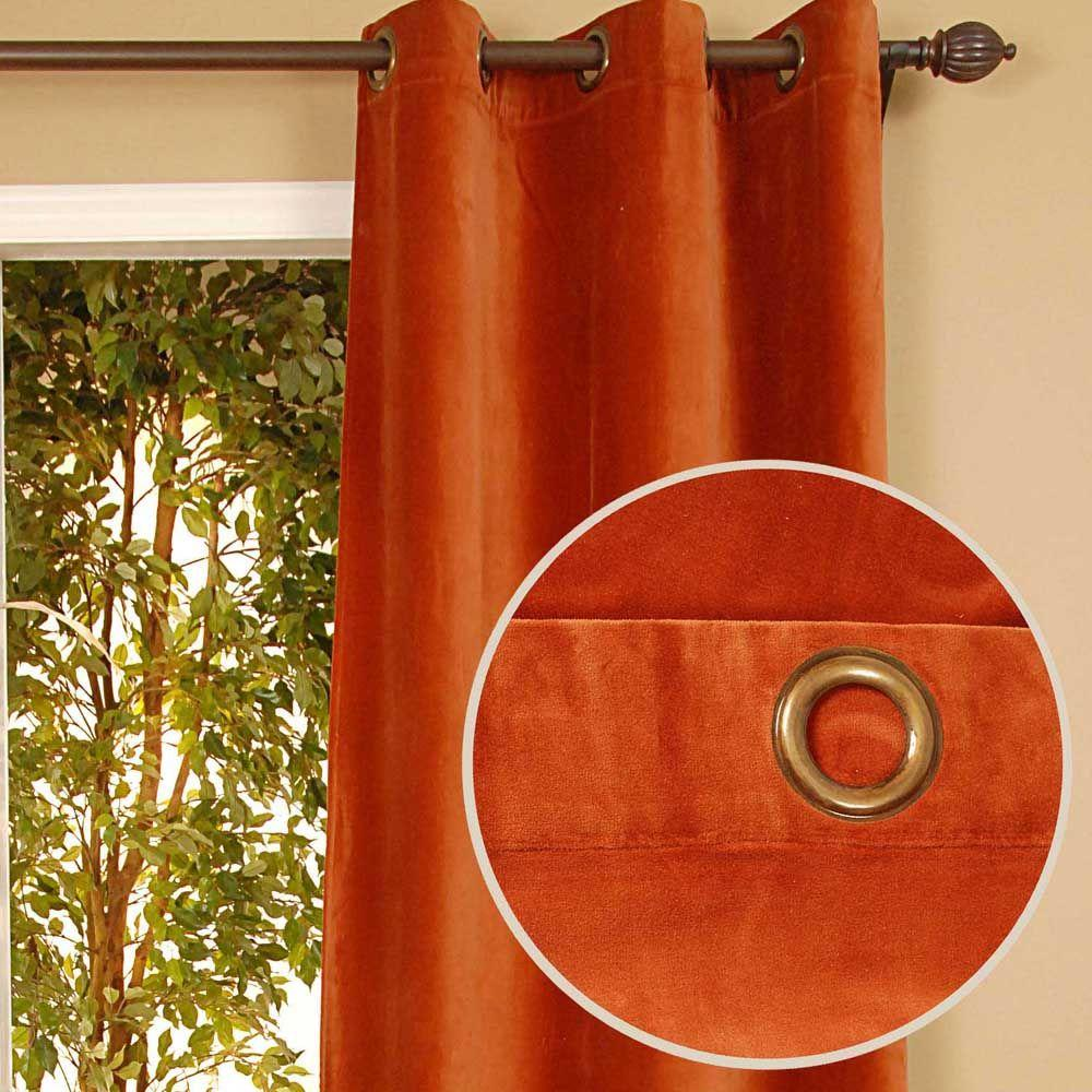 Home Decorators Collection Sheer Kavita Terracotta Grommet Curtain-DISCONTINUED