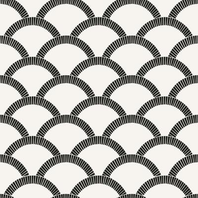 Mosaic Scallop Black and Cream Self-Adhesive Removable Wallpaper