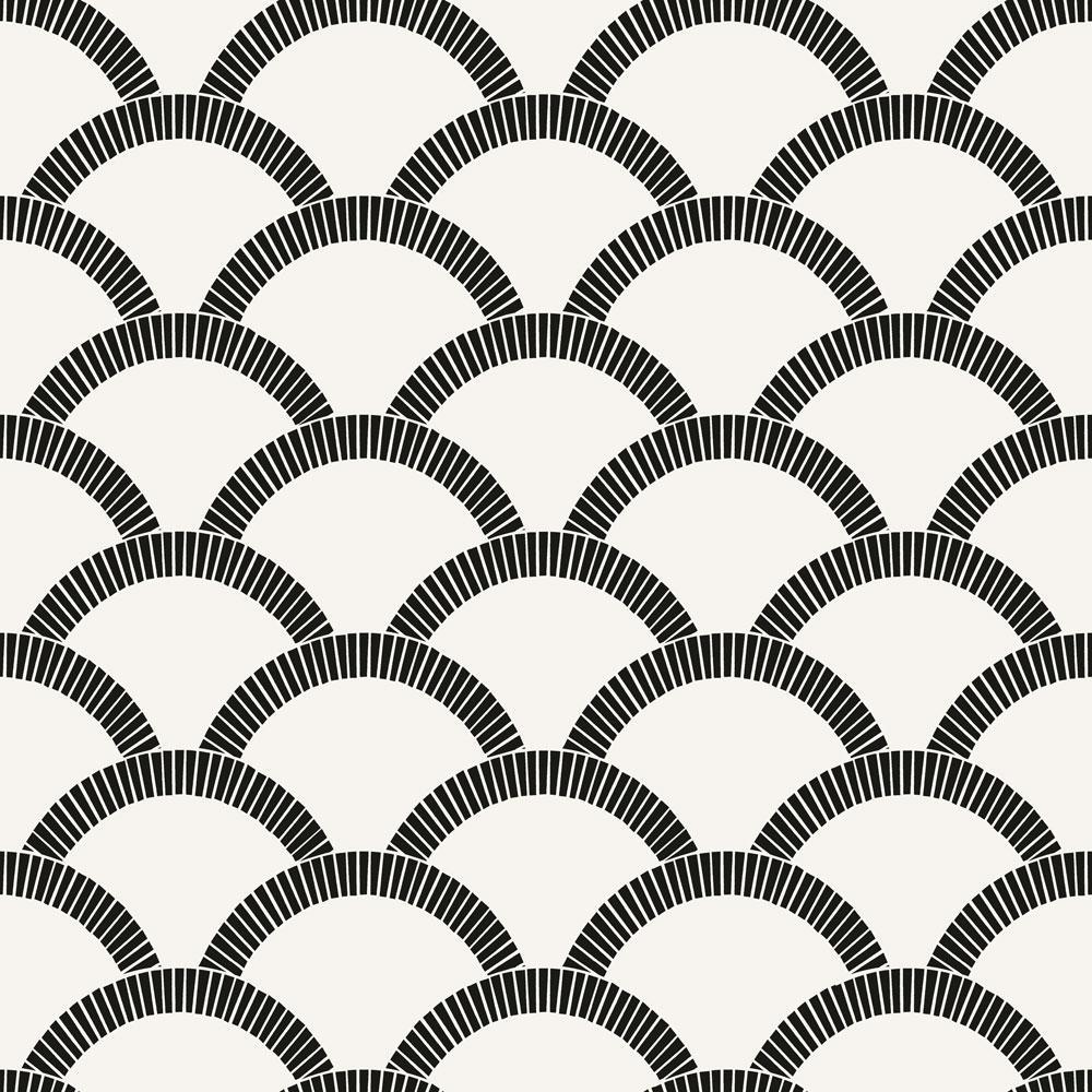 Tempaper Mosaic Scallop Black and Cream Self-Adhesive Removable Wallpaper