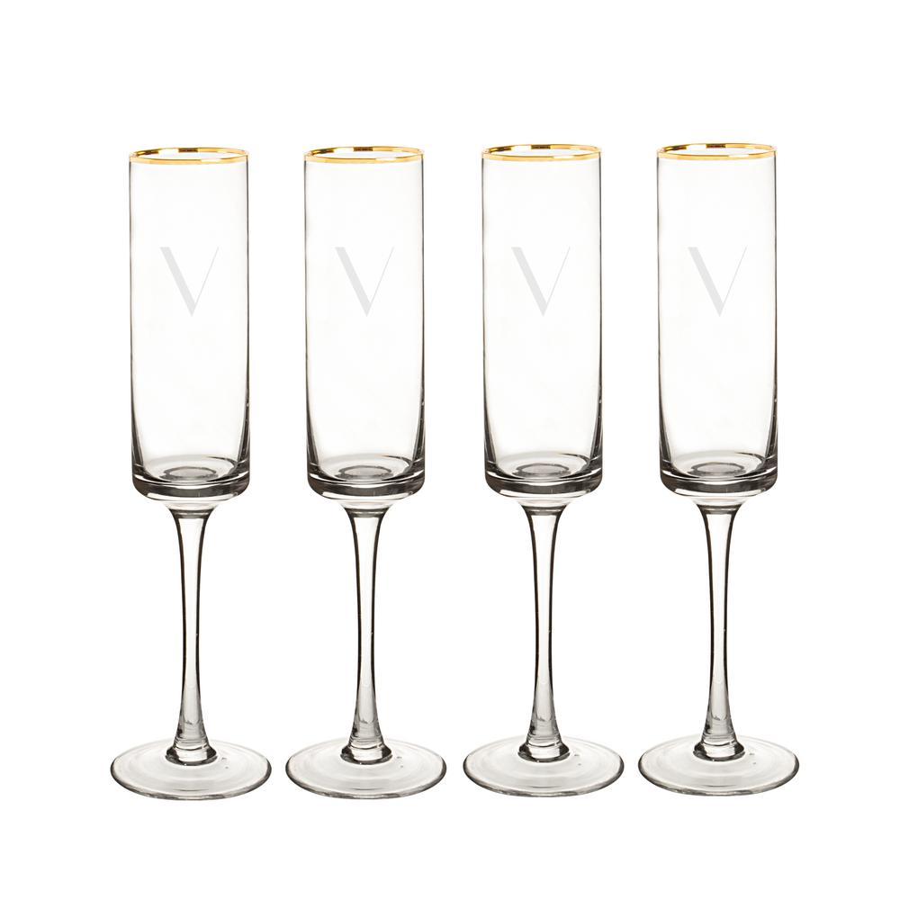Personalized Gold Rim Contemporary Champagne Flutes - V