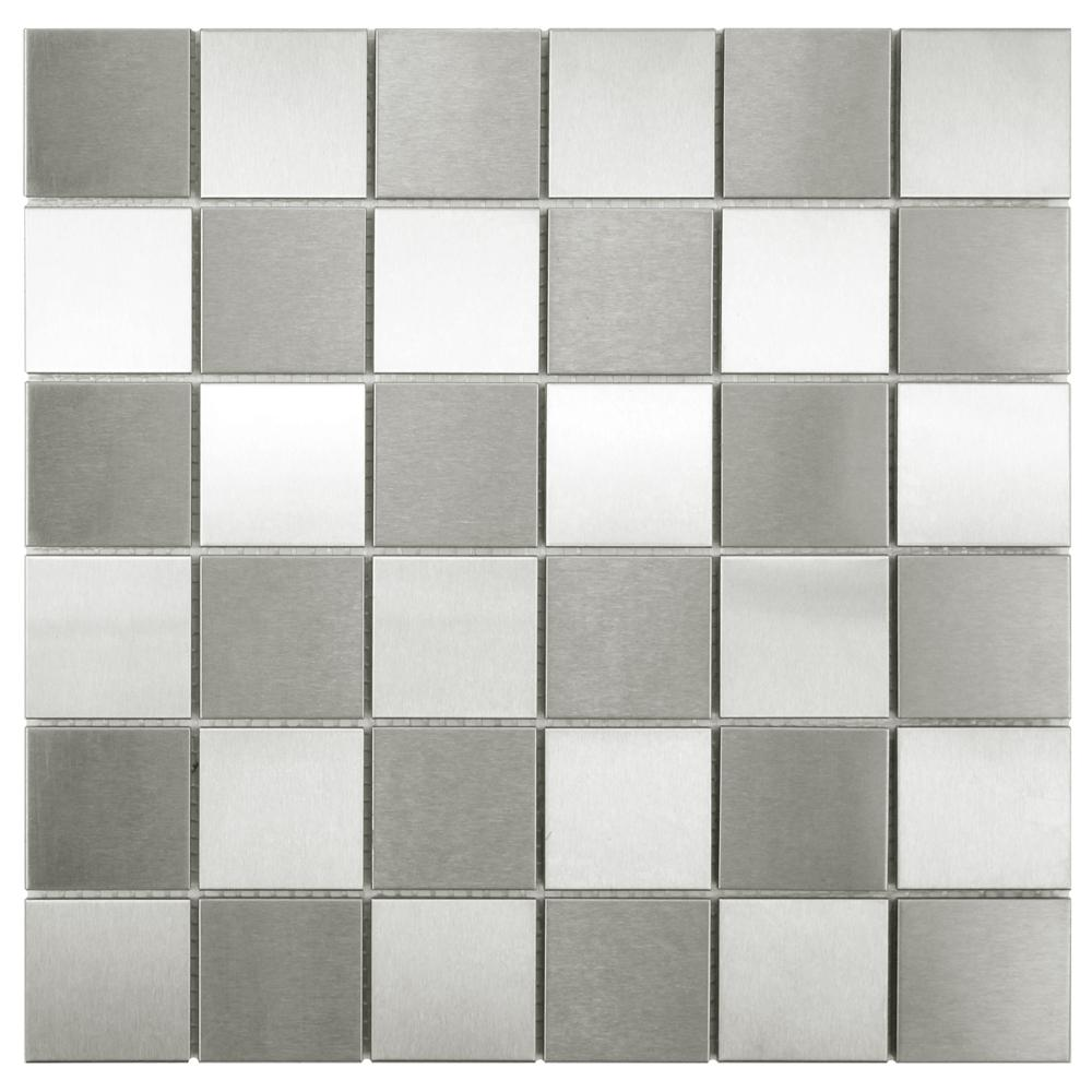 Merola tile alloy quad checkerboard 12 in x 12 in x 8 mm merola tile alloy quad checkerboard 12 in x 12 in x 8 mm stainless steel over porcelain mosaic tile mitssch2 the home depot dailygadgetfo Gallery