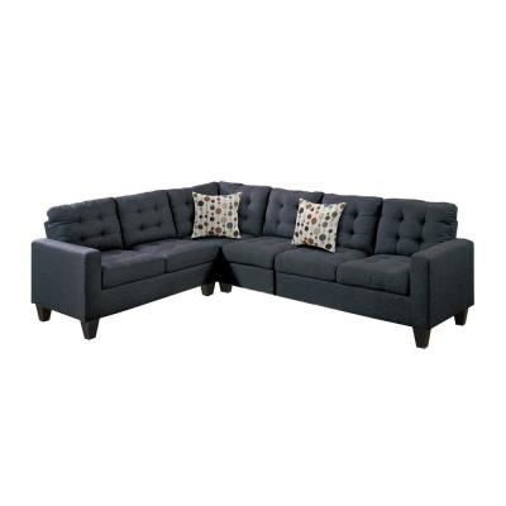 Bobkona 4-Piece Black Linen-Like Fabric L-Shaped Modular Sectional Sofa with Wood Legs