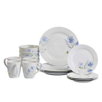 Dinner Set 16-Piece White and Floral Pattern Dinnerware Set Wildflower
