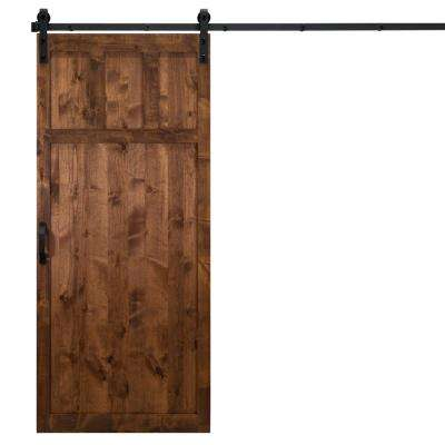 36 in. x 84 in. Craftsman Walnut Alder Wood Interior Barn Door Slab with Sliding Door Hardware Kit