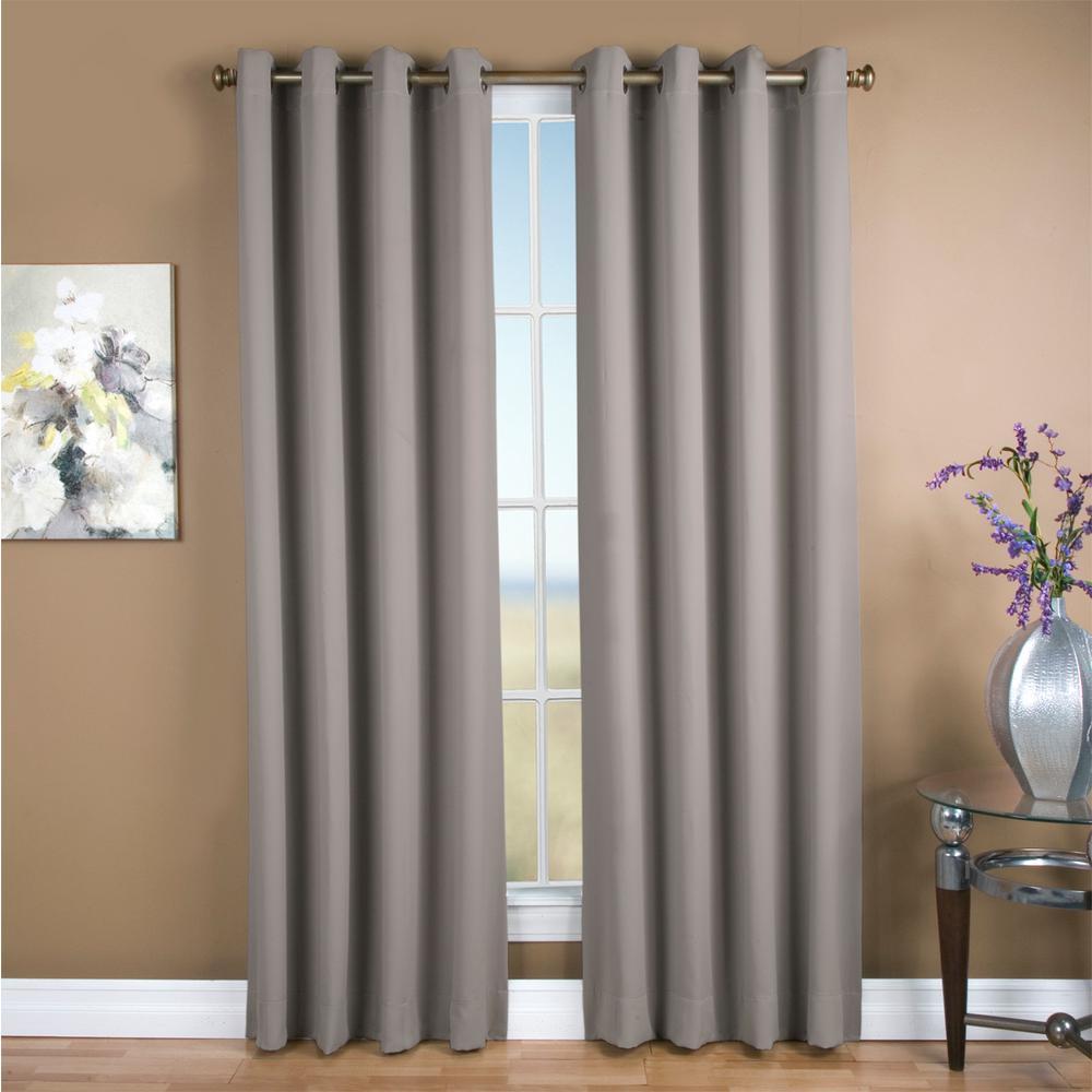 Ultimate Blackout 56 in. W x 84 in. L Polyester Blackout Window Panel in Grey