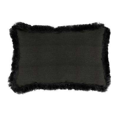 Sunbrella 19 in. x 12 in. Spectrum Carbon Lumbar Outdoor Throw Pillow with Black Fringe