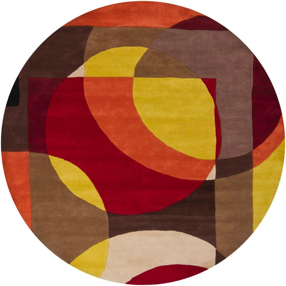 Chandra Rain Multi Colored 7 ft. 9 in. Round Indoor Area Rug