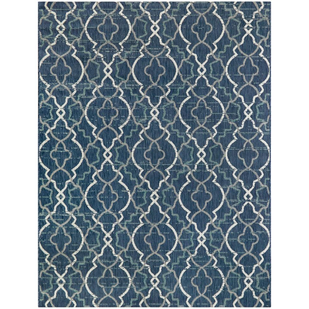 Abstract Trellis Blue 5 ft. x 7 ft. Indoor/Outdoor Area Rug